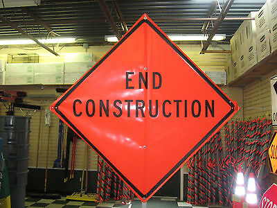 """End Construction Sign Fluorescent Vinyl With Ribs 48""""x48"""" Roll Up Sign"""