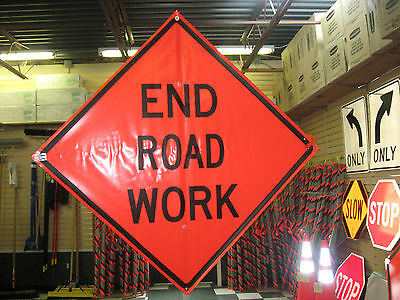 "End Road Work Sign Fluorescent Vinyl With Ribs 48""x48"" Roll Up Sign"