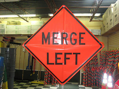 "Merge Left Sign Fluorescent Vinyl With Ribs 48""x48"" Roll Up Sign"