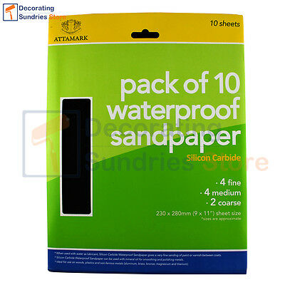 Attamark Silicone Carbide Waterproof Sandpaper Sheets 10 Pack | Use Wet or Dry