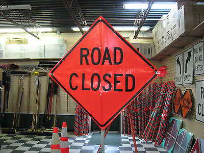 "Road Closed Fluorescent Vinyl With Ribs Road Sign 48"" X 48"""