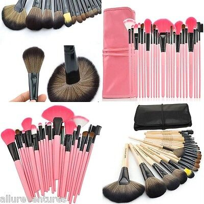 MAKE-UP FOR YOU 24pcs Pro Cosmetic Makeup Brushes Set Pink/Black US SELLER