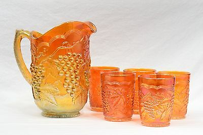 Imperial Marigold Carnival Grape Water Pitcher and 5 Tumblers Set - OUTSTANDING