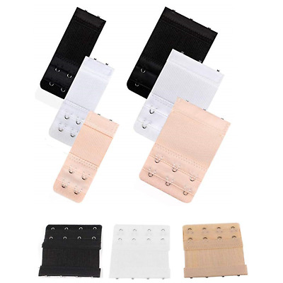 Bra Extender Extension Elastic 2 / 3 Hooks Clip On Strap Black White Nude Beige