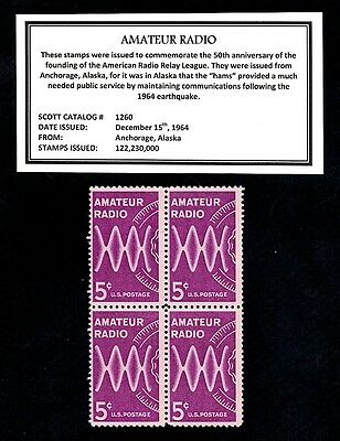 1964 - AMATEUR RADIO - Mint Block of Four Vintage Postage Stamps