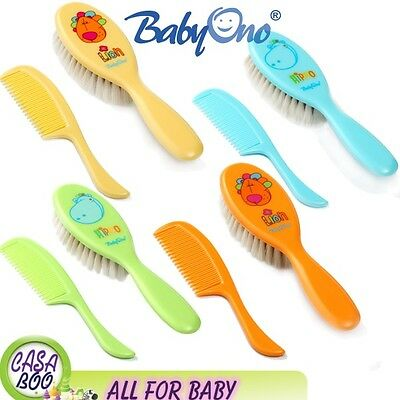 BABYONO Soft, Natural Bristle Baby Hairbrush  And A Comb New Brush