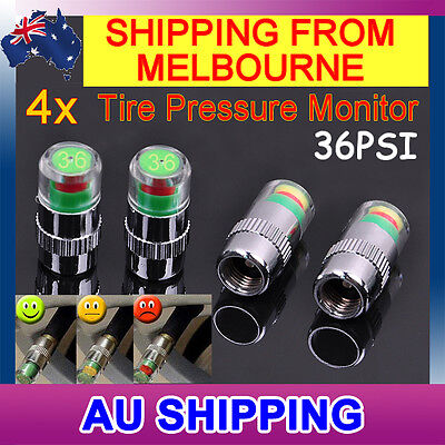 4x Car Tyre Valve Stem Caps with Pressure Indicator Monitor Sensor bike - 36PSI
