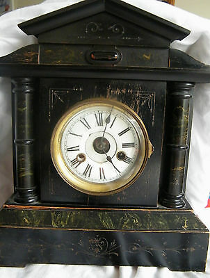 Antique Victorian German Ebonised? Wood Case 14 Day Striker Mantel Clock H.a.c.
