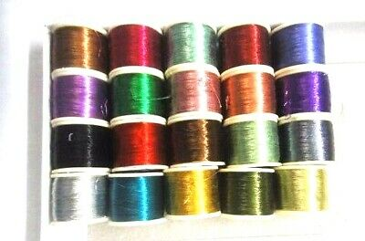 20 Spools Shiny Metallic Thread Crochet Embroidery Hand Work Sewing Multi Color