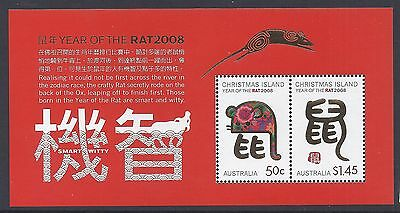 2008 Christmas Island Year Of The Rat Minisheet Fine Mint Mnh/muh