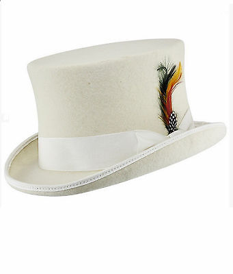 Unisex Wedding Event 100% Wool Felt White Top Hat Satin Lined With Feather