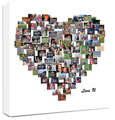 Personalised Heart Shape Photo Collage Canvas