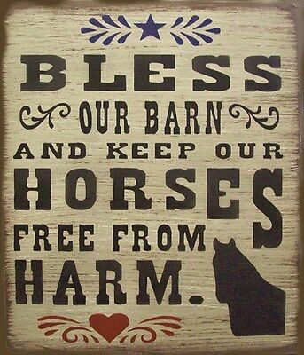Bless Our Barn & Keep Our Horses Safe Primitive Rustic Country Sign Home Decor