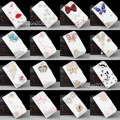 Deluxe Crystal Bling Diamond White Wallet Stand Leather Hard Phone Case Cover