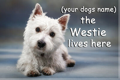 Personalised Westie West Highland White Terrier Fridge Magnet dogs name Gift