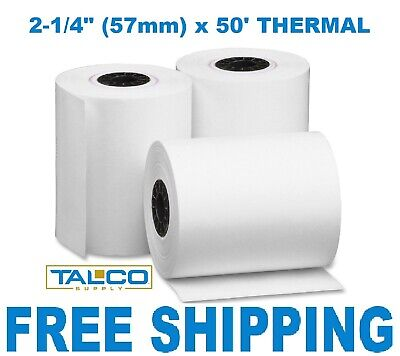 "2-1/4"" x 50' THERMAL WIRELESS PoS RECEIPT PAPER - 25 ROLLS  ** FREE SHIPPING **"