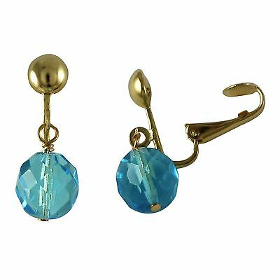 Genuine Gold Finish Aqua Blue Beads Womens Girls Clip-On Earrings