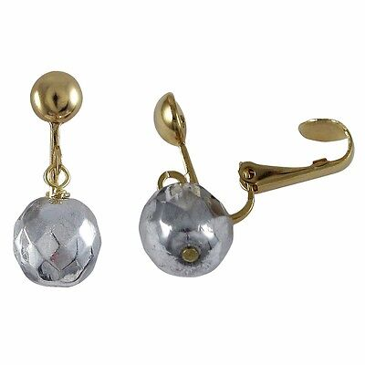 Genuine Gold Finish Silvertone Beads Womens Girls Clip-On Earrings
