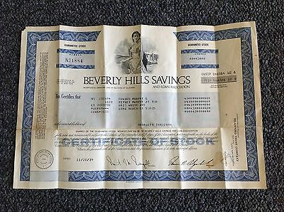 * VINTAGE 1979 * Defunct BEVERLY HILLS SAVINGS and LOAN stock certificate
