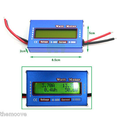 Digital LCD Watt Meter Battery Balance Ammeter Amp Analyzer 60V 100A DC RC Volt