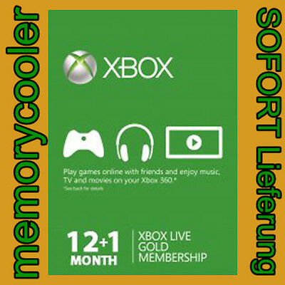 Xbox One 360 LIVE Gold Mitgliedschaft 12+1 Monate Code 13 Month Membership Card