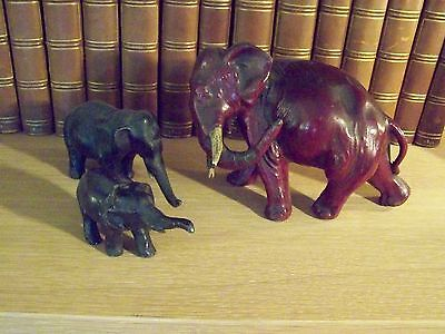 PRETTY ANTIQUE COLD PAINTED CAST IRON ELEPHANT FIGURINES - more FineThings4sale