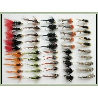 50 Goldhead Trout Fishing Flies, Nymphs, 10 varieties, Mixed Hook Size 10 & 12