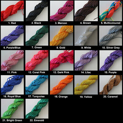 21 metres Braided Nylon Cord Thread - 1mm - Choice of Colours