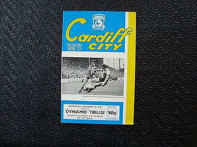 Cardiff v Dynamo Tblisi Cup Winners Cup Sep 1976