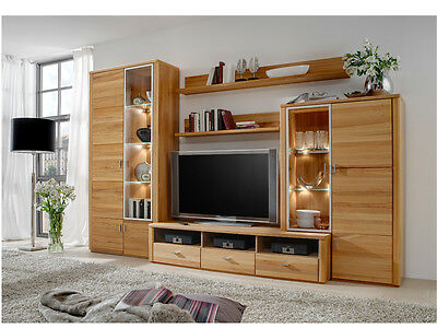 massivholz wohnwand anbauwand schrankwand holz kernbuche. Black Bedroom Furniture Sets. Home Design Ideas