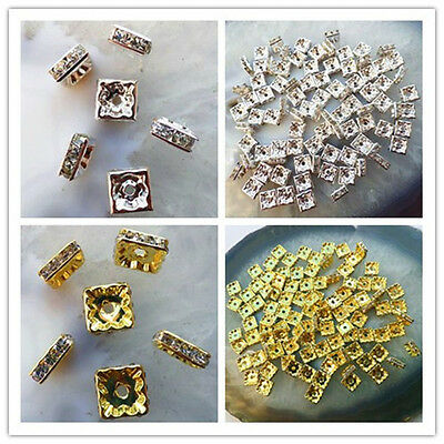 100pcs Plated Silver/Gold  Rhinestone Crystal Spacer Beads Square 6/8/10mm