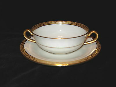 "Elite Works Limoges Gold Encrusted Double Handled Boullion Cup & Saucer 4 5/8""d"