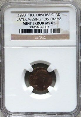 1998 P Dime Error Obverse Clad Layer Missing Ngc Mint State 65