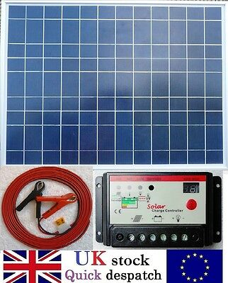 50w Solar Panel + 10A PWM Charger Controller + 4m Cable fuse & Clips 12v Battery