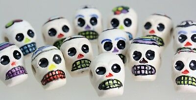 * White Glazed Skull ceramic BEADS  Day of the Dead  x   50   Holed  Top- Bottom