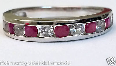 White Gold All Natural Genuine Ruby Anniversary Wedding Band Ring Stackable