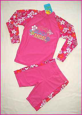 GIRLS 2 pc RASHI SWIMWEAR Sz 6 8 10 PINK TOGS Long Sleeved Rash Top + Shorts NEW