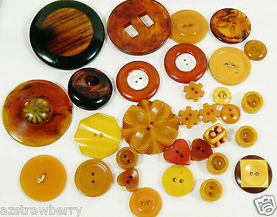 VTG Mix Lot of 31 assorted color brown orange size all bakelite carved buttons