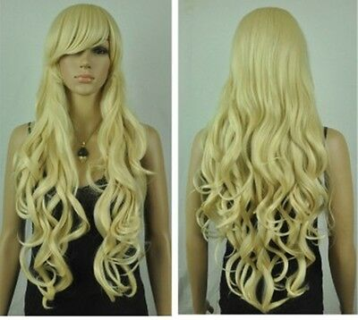 Fashion lady's girl's Cos light blonde long curly cosplay wig+free wig cap