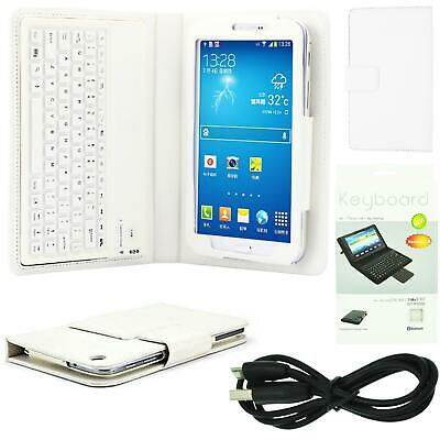 """New White Leather Case Cover With Bluetooth Keyboard For Samsung Galaxy Tab 3 7"""""""