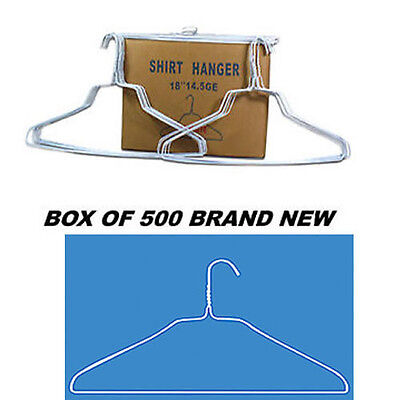 """Case of 500 White 18"""" Wire Shirt Clothes Hangers ***NEW***"""