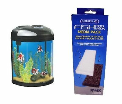 0391 Interpet Fish Pod Box Moon Tank 19L Filter Pads Media Pack Carbon Fpm19