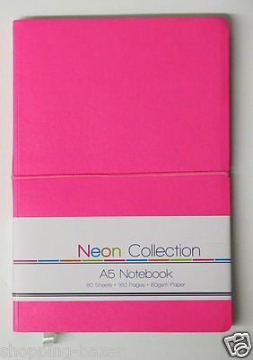 Pink A5 soft touch notebook notepad neon colours ruled feint lined 160pages 80gs