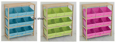 Kids 3 Tier Wooden Storage Unit With 9 Canvas Tubs Tray, Toy Box, Toy Tidy Chest