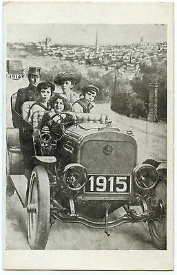 Automobile Ancienne.la Nouvelle Annee 1915.old Car. Happy New Year.