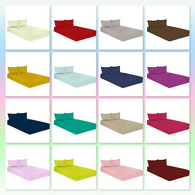 Luxury Combed Percale Quality Non Iron Plain Dyed Fitted Sheet Poly Cotton