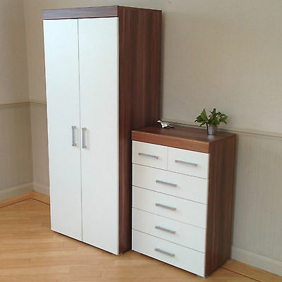 2 Door Wardrobe & 4+2 Chest of Drawers in White & Walnut Bedroom Furniture 6 Set