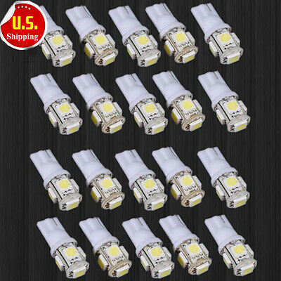 SL 20x T10 5050 W5W 5 SMD 194 168 LED White Car Side Wedge Tail Light Lamp Bulb