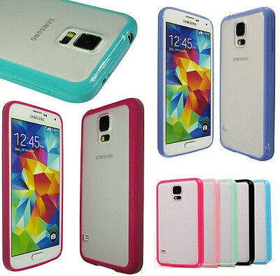 TPU Bumper Frame w/ Matte Clear Hard Back Case Cover for Samsung Galaxy S5 / S V