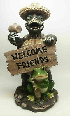 Welcome Friends Sign Hammer Turtle and Frog Toad Figurine Garden Decor Sculpture